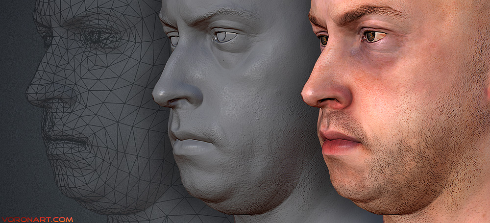 Nikolay. low poly 3d male head.