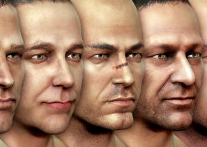 Textured 3d Male Heads sculpting