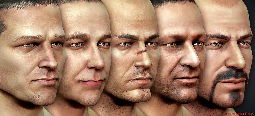 Textured 3d Male Heads sculpting