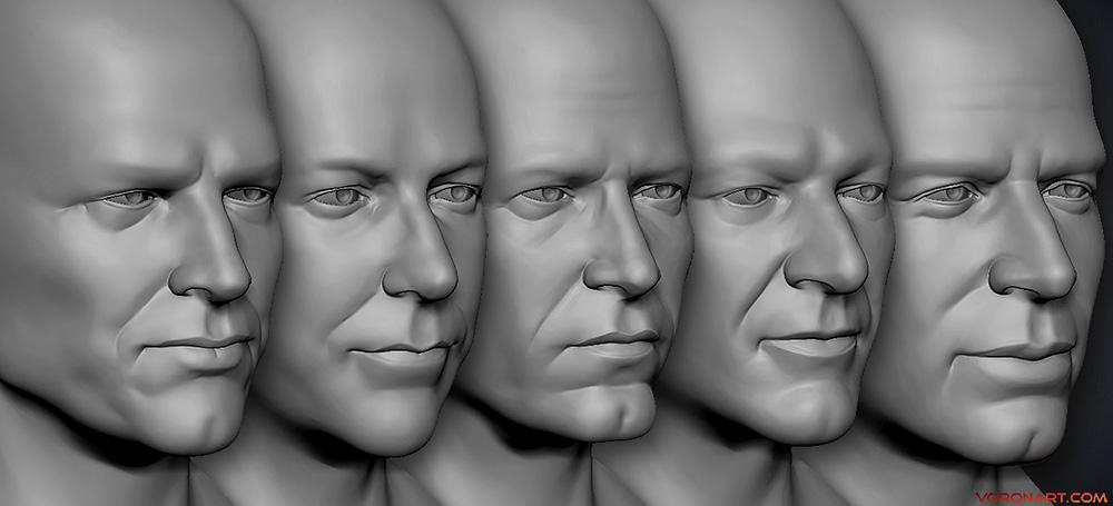 3d Male Heads sculpting
