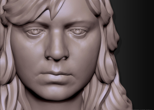 Woman head 3d Portrait sculpting.