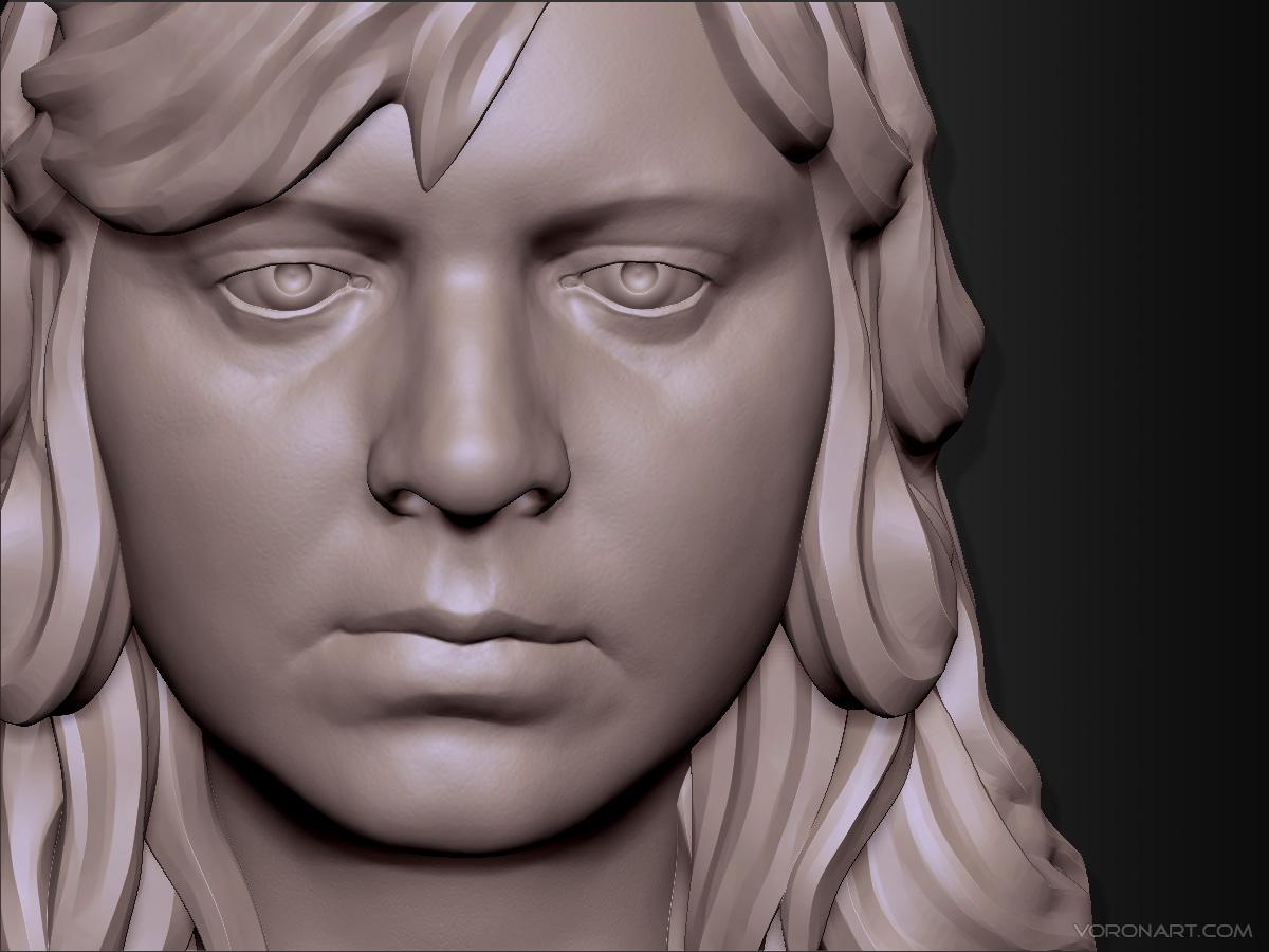 Woman head 3d Portrait sculpting.