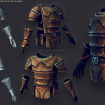 Body armor. Player Character equipments, in-game low poly
