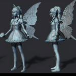 fairy 3d print ready sculpture