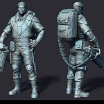 machine-gunner 3d print ready sculpture