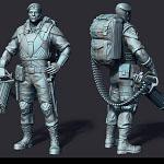 machine-gunner 3d print ready sculpture