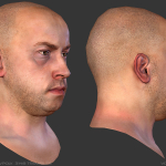 real-time low poly male head
