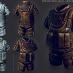 Body armors. in-game low poly