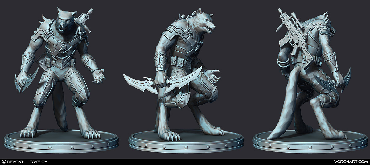 werewolf 3d print ready sculpture