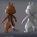 3d Cartoon Chipmunk. High poly Model