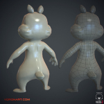 3d Chipmunk. Low Ploy normal and wireframe