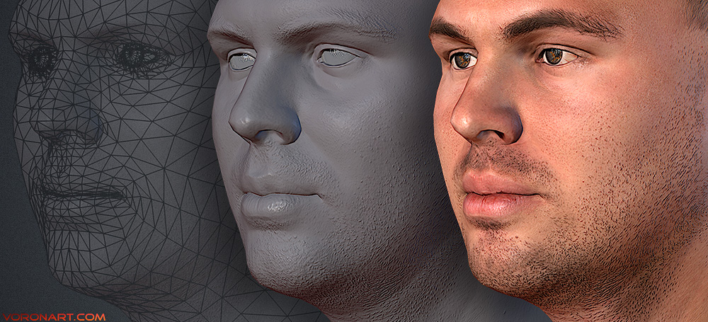 Dmitry. real-time low poly Head 3d model