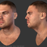 3d low poly head real-time render