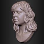 Olga. Woman portrait 3d sculpture