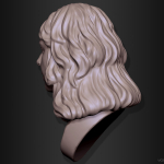 Head 3d sculpture. Woman portrait