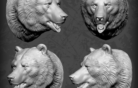 bear head zbrush sculpt. 3d print ready high poly model