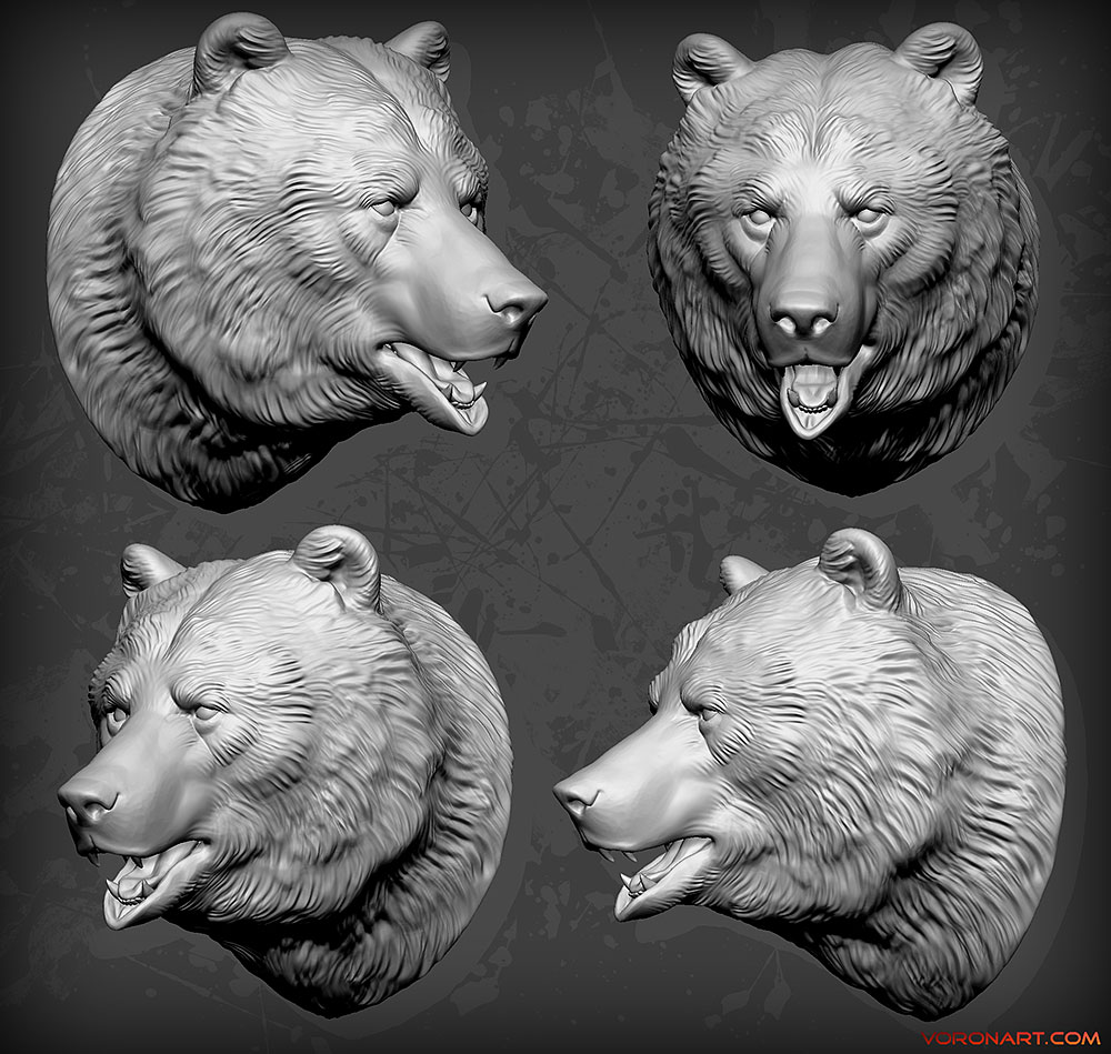 Brown Bear Head 3d sculpture for CNC or 3D printing