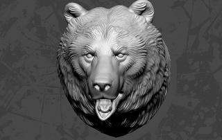 bear head zbrush sculpt. 3d print ready high poly model