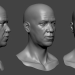 Afro male head sculpture. Нigh poly 3d model