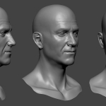 Old man head sculpture. Нigh poly 3d model