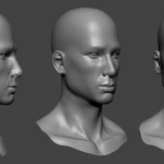 Asian male head sculpture. Нigh poly 3d model