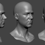 Male head sculpture. Нigh poly 3d model