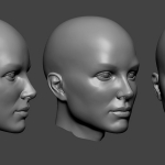 Young female head sculpture. Нigh poly 3d model