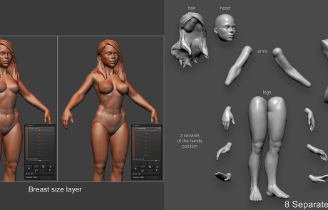 Buy girl high poly 3D-model