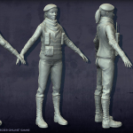 female soldier high poly 3d-character