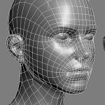 3d girl low poly head normal bump test