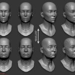 3d woman head zbrush morphing animation