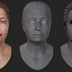 woman's 3d head. 45 years old. Normal bump and wireframe