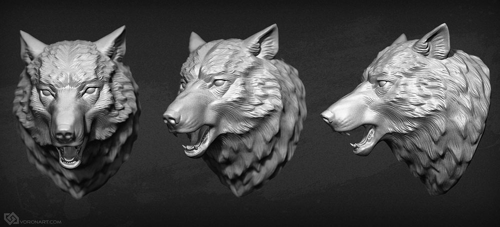 Wolf head 3d sculpture for cnc or 3d printing production