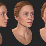 woman's 3d head. 25 years old.
