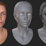woman's 3d head. 25 years old. Normal bump and wireframe