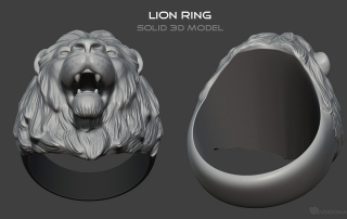 """Lion head ring"" solid 3d model for 3d print or metal casting"