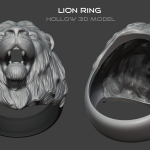 """Lion head ring"" hollow 3d model for 3d print or metal casting"