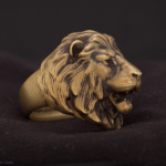 Lion head ring. Aged brass, photo