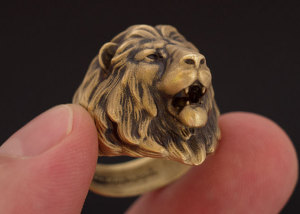 Realictic Lion head ring. Silver, Gold, Bronze, Brass