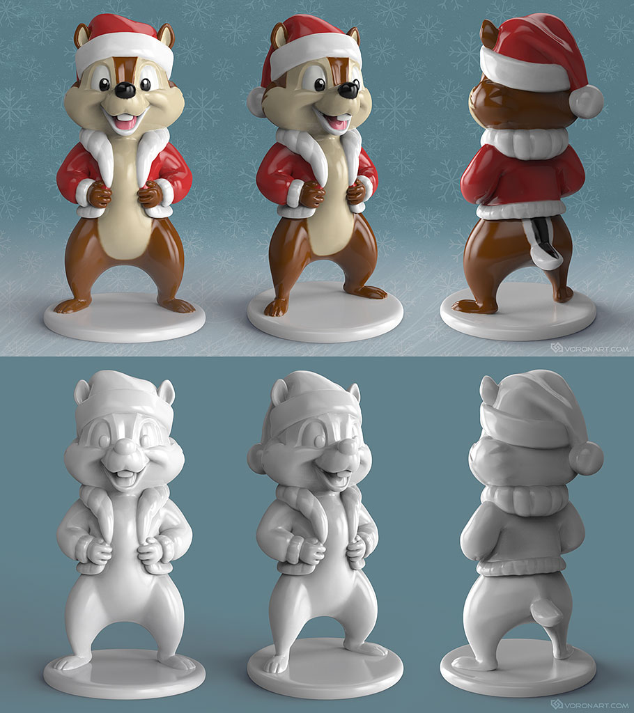 3d-print-ready chipmunk. Free 3d model