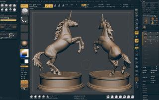 3D Unicorn pose Zbrush sculpting