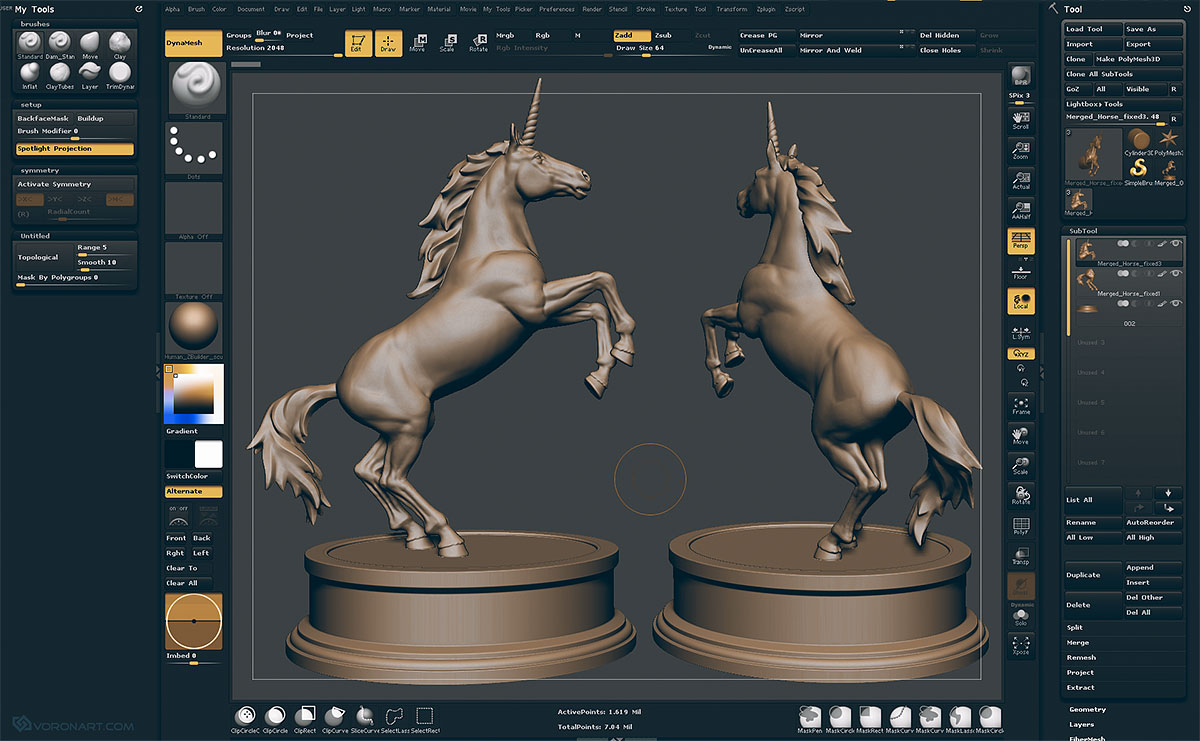 3D Unicorn pose Zbrush sculpting