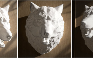 3D printed sculpture of a Wolf Head. Polyamide.