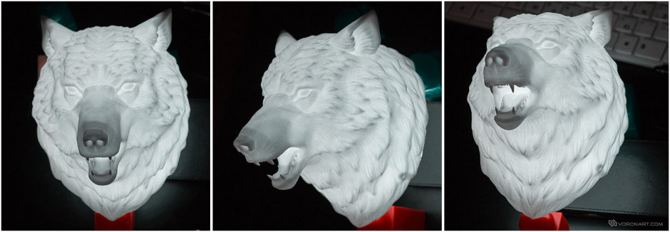 3D printed sculpture of a Wolf Head. One LED light inside