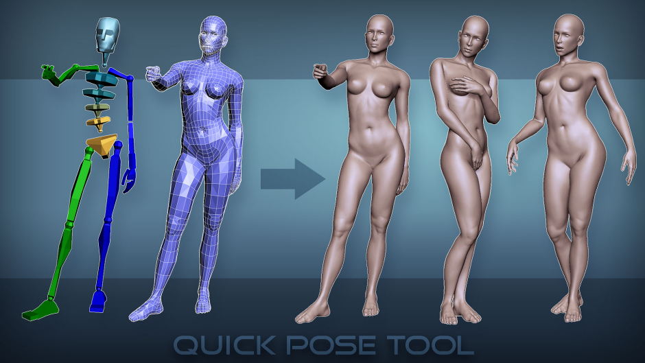 "3d female ""Quick Pose Tool"". Low poly and high poly model of a nude woman"