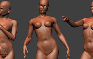 Female. Posed high poly 3D models. For free