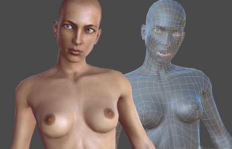 nude female rigged 3d character. Face