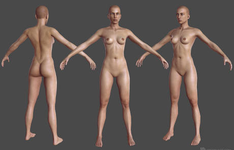 nude female rigged 3d character. A-pose