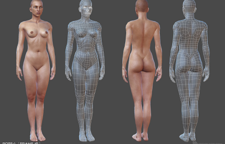 nude female rigged 3d character. Pose #1