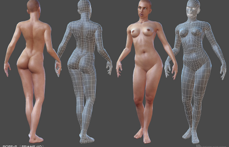 nude female rigged 3d character. Pose #2